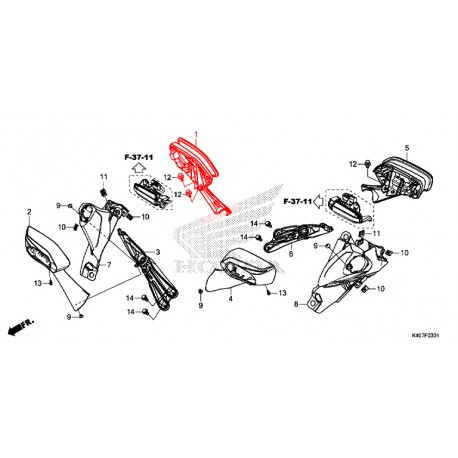 88110-K40-F61 : Rétroviseur droit origine Honda Forza 125 NSS