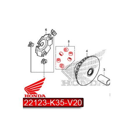 22123-K35-V20 : Jeu de galets d'origine V2-V3 Forza 125 300 NSS